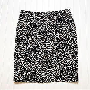 J. Crew Leopard Print Pencil Skirt Basketweave 8